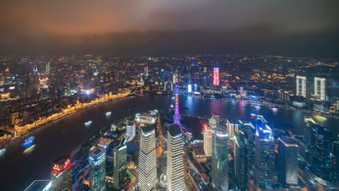 Time lapse of aerial view of boats in Shanghai Downtown, China. Financial district and business Live Action