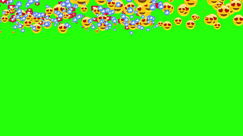 All social media symbols are together. Facebook and instagram likes, smileys are in green screen Animation