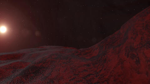 Flying on mars. Aerial 3D rendering over Mars Planet Animation