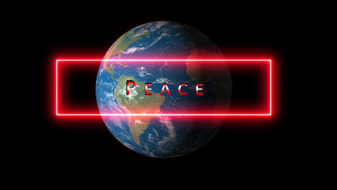 Peace theme, concept, generic. Glow, shiny text of peace in HD Animation