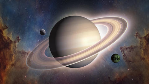 Solar system's Saturn and it's satellite Titan and Mimas afterwards meteorites Animation