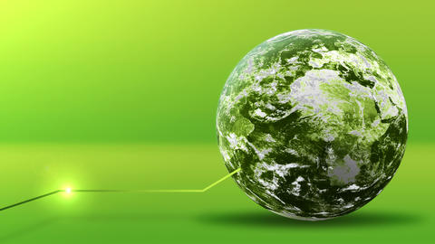 Green energy concept, green earth planet with line. Elements furnished by NASA Animation