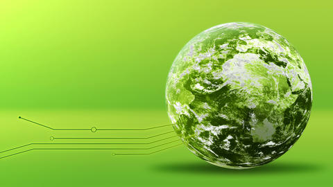 Green energy concept, green earth planet with lines. Elements furnished by NASA Animation
