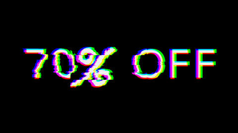 From the Glitch effect arises 70% OFF. Then the TV turns off. Alpha channel Premultiplied - Matted Animation