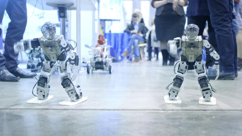 New robot android dancing on the show. Shows human movements. New technologies Footage