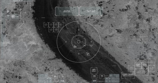 Drone with thermal night vision view of terrorist squad walking with weapons Footage