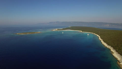 Aerial - Panoramic view of the seascape with some land Footage