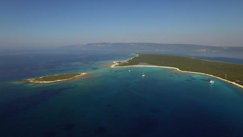 Aerial - Panoramic view of a seascape with an island Footage