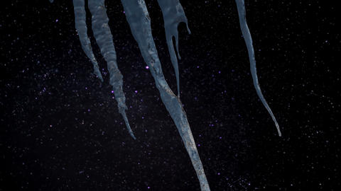 Timelapse - Icicles with a blurry starry night in the background Live Action
