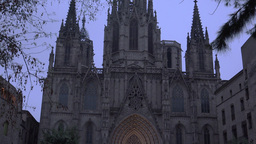 BARCELONA,Barcelona Cathedral at Barri Gothic in Barcelona in evening.ULTRA HD 4 Footage