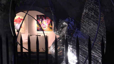 BARCELONA: art exhibits highlighted next to Barcelona Cathedral in night, ULTRA Footage