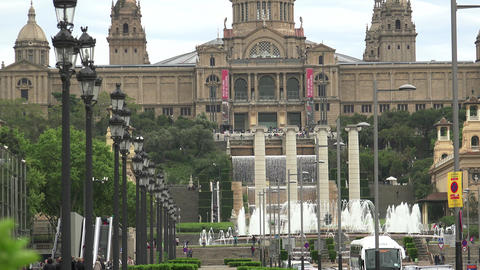 Catalan National Museum of Art and his famous fountains in Barcelona, ULTRA HD 4 Footage