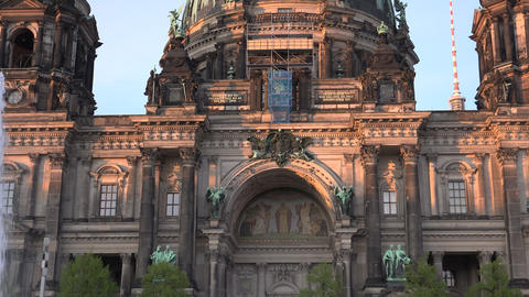 BERLIN,Berliner Dom with tourists visiting and walking;ULTRA HD 4k Footage