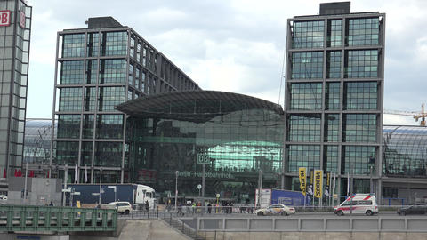 facade of Berlin Central Railway station with a lot of passengers,ULTRA HD 4k,re Footage
