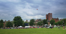 People in Boston Common Park Flying a Kite Footage