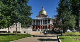 Massachusetts State House in Boston Establishing Shot Footage