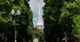 Establishing Shot of Paul Revere Statue Near Old North Church Footage