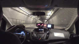 Passenger's Backseat View Inside a Taxi in a Boston Tunnel Stock Video Footage
