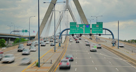 Timelapse View of Traffic on the Leonard P. Zakim Bunker Hill Memorial Bridge in Footage