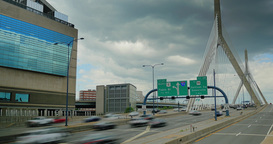 Timelapse View of Traffic on the Leonard P. Zakim Bunker Hill Memorial Bridge in Footage