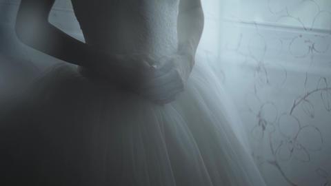 Bride Hand On White Dress Footage