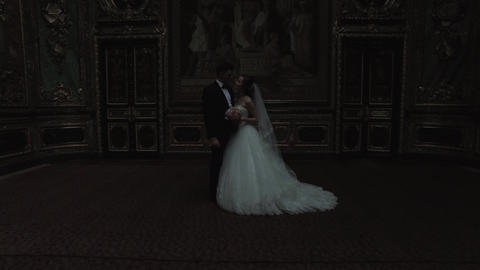Bride And Groom In Luxurious Interiors Footage