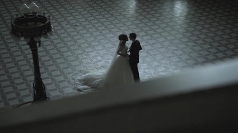 Bride And Groom In Interior Of Old Building Footage