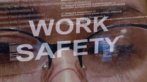 Work safety text on background of female developer Footage