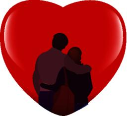 couple of lovers in front of a red heart Vector