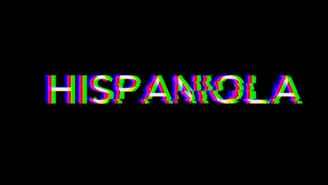 From the Glitch effect arises HISPANIOLA. Then the TV… Stock Video Footage