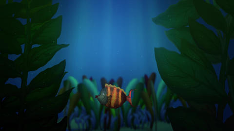 Colorful and striped fish is swimming behind of underwater plants. Sun rays, sea, ocean, nature and Animation