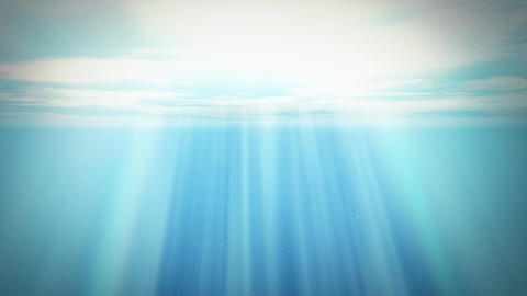 Realistic underwater rendering. Diving to sea or ocean with sun and rays. Waves and fishes. Animation