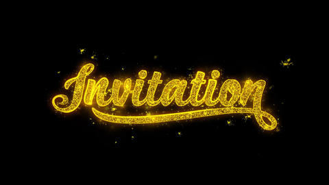 Invitation Typography Written with Golden Particles Sparks Fireworks Live Action
