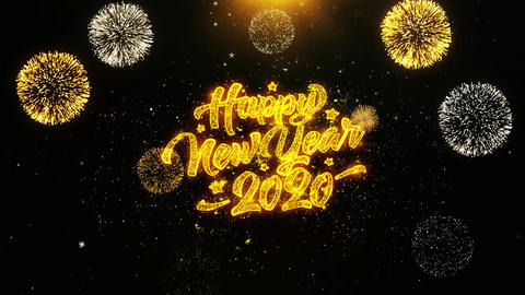 2020 Happy New Year Wishes Greetings card, Invitation, Celebration Firework Live Action
