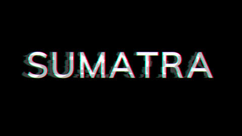 From the Glitch effect arises SUMATRA. Then the TV turns off. Alpha channel Premultiplied - Matted Animation