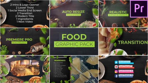 Food Graphic Pack for Premiere Pro (Image) Premiere Proテンプレート