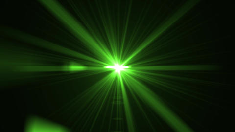 Green light rays, burst on black background. Energy green shinny magical flare, blue sunlight, shiny Animation