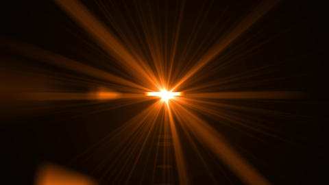 Yellow, orange light rays on black background. Flare, sunlight, shiny lens light, spotlight Animation