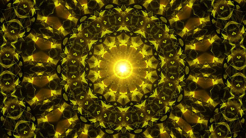 Yellow disco kaleidoscope background. Beautiful graphic texture, symmetry. Fractal ornaments 3D Animation