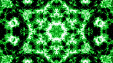 Green kaleidoscope background. Beautiful graphic texture, symmetry. Fractal ornaments 3D rendering Animation