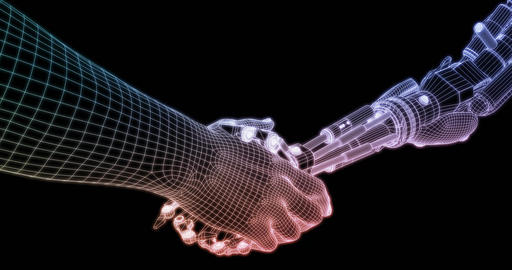Technology Partnership with Handshake Between Robot and Human Looping Footage