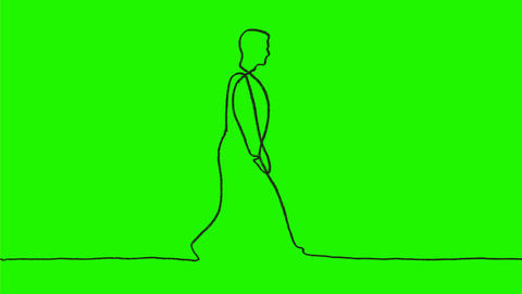 Man Walking Continuous Line 2D Animation Animación
