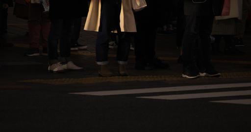 Walking people body parts at Shibuya crossing at night Live Action