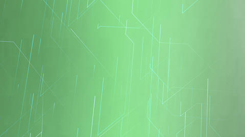 Abstract moving thin lines on green background. Futuristic network design, cyberspace technology Animation