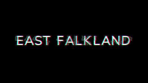 From the Glitch effect arises EAST FALKLAND. Then the TV turns off. Alpha channel Premultiplied - Animation