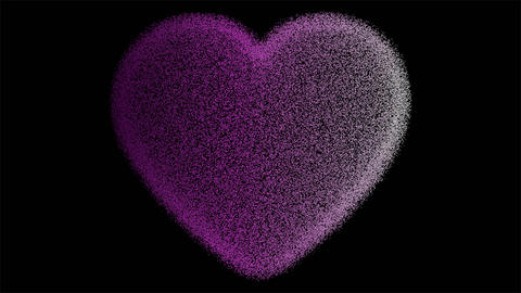 Pink heart particles, pulsation, heartbeat. Symbol of love, concept of Valentine's, isolated heart Animation