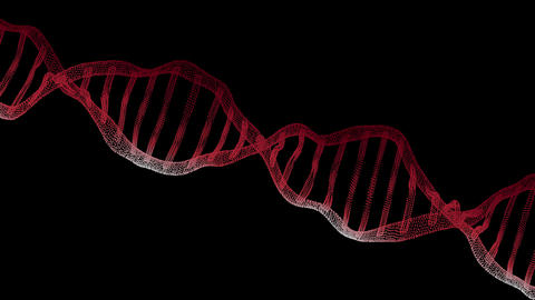 DNA background, 3D illustration. Particles of molecules, genetic, biotechnology DNA on black screen Animation