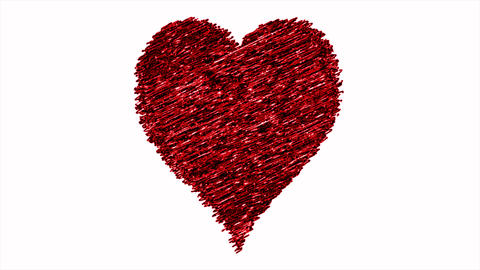 Hand drawn heart. Isolated symbol of love, heart in sketch art. Cartoon red love for Valentine's Animation