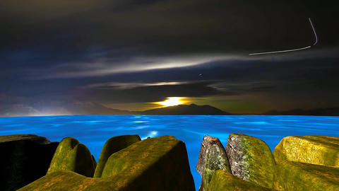 8 night landscape of blue sea, cliffs and moon crossing sky Animation