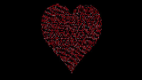 Digital, led hearts. Sign, symbol of love on graphic, computer dots. Object for Valentine's Animation